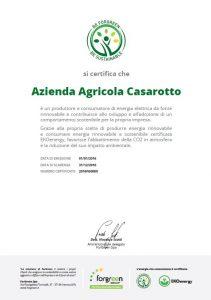 Certificato Azienda Agricola Casarotto