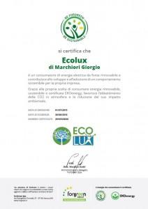 Certificato Energia Sostenibile Ecolux