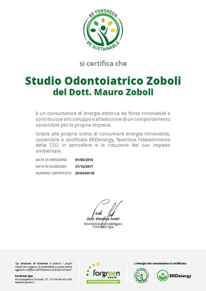Certificato Studio Odontoiatrico Zoboli